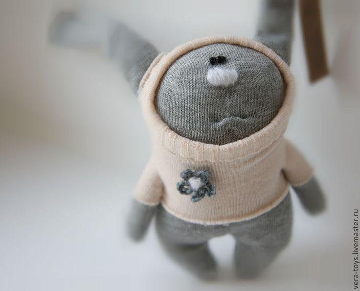 Купить ЗАЯЦ игрушка из носка - серый, Пасха, кролик, игрушка, игрушка ручной работы, детям