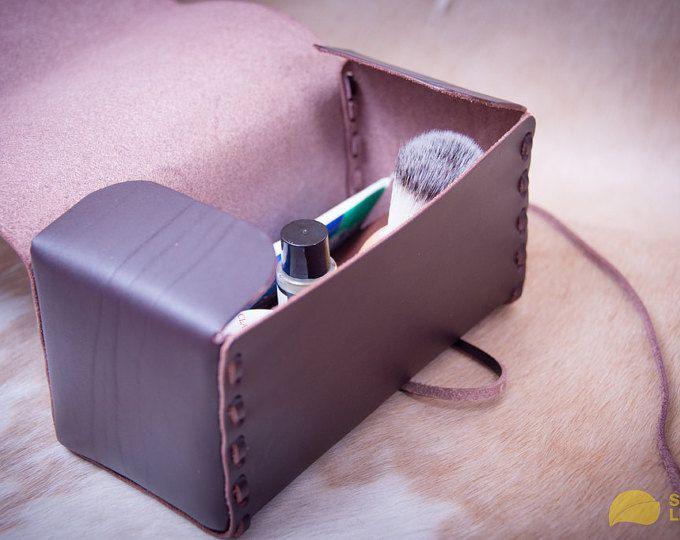 Kit de aseo (chocolate) el bolso cuero Dopp, neceser de cuero, kit de aseo de los hombres, estuche de viaje de los hombres, afeitando el kit, regalo del día de Vilentine