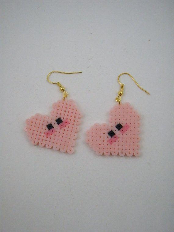Handmade earrings / Hama beads / Perler beads / Pink Heart