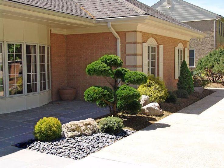 décoration petit jardin japonais côté rue en bonsaï , galets et roches