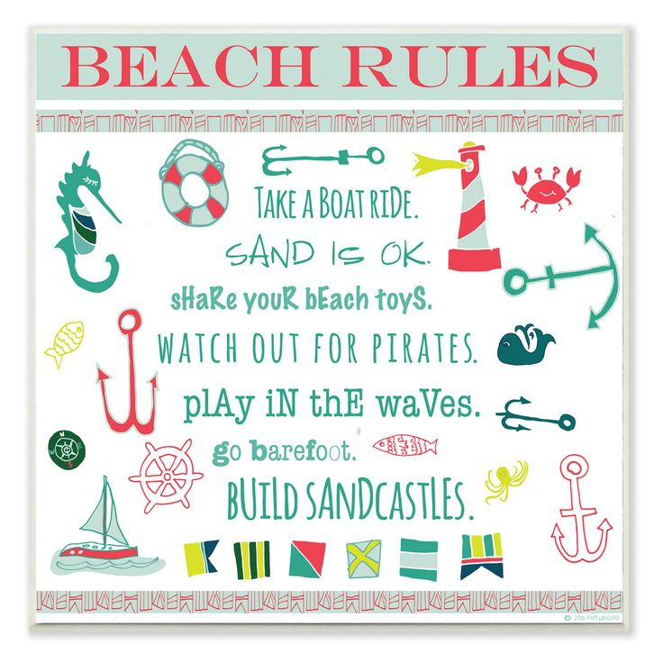 Stupell Industries Beach Rules Wall Plaque Art - CWP-142_WD_12X12