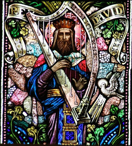 Stained glass window: King David with harp. Gorgeous