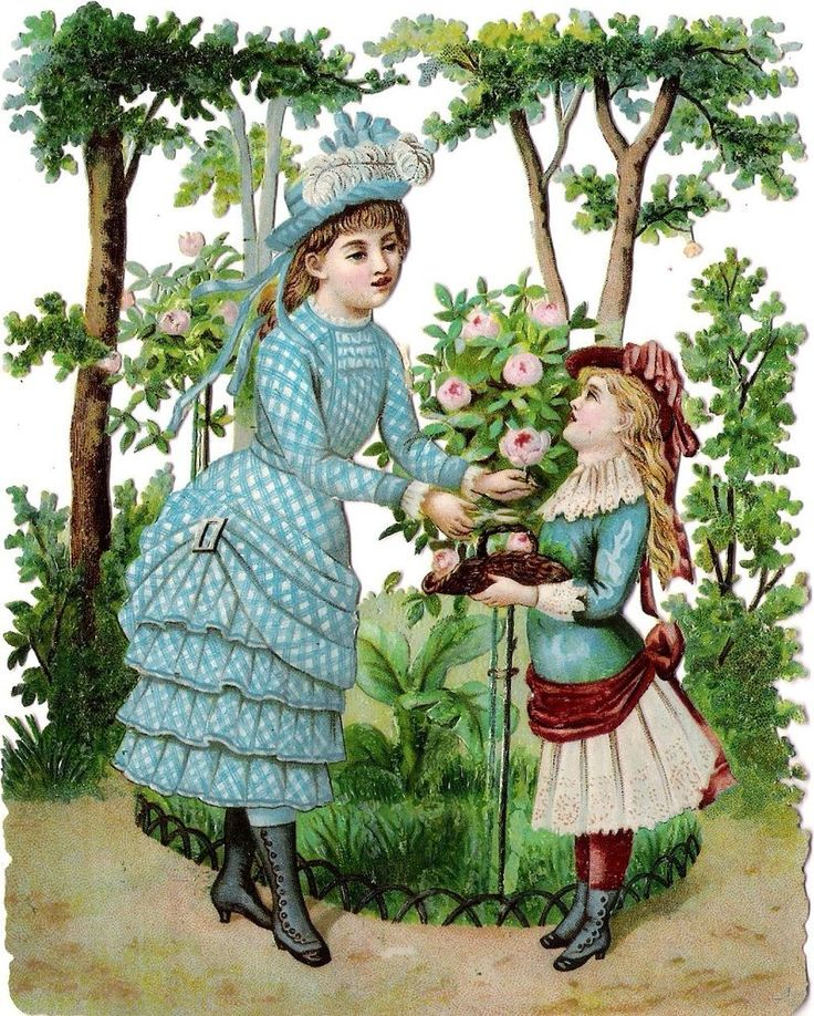 Oblaten Glanzbild scrap die cut chromo Kind XL child enfant Garten garden jardin