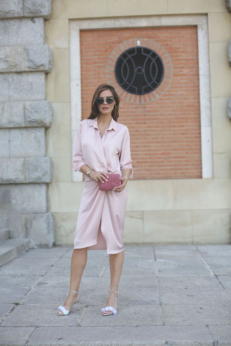 shirt dress looks - Lady Addict. Pale pink shirt midi dress+nude lace-up embellished heeled sandals+pink clutch+sunglasses+gold earrings+gold necklace+gold bracelet. Summer Day Semi Formal Event (First Comunion, Formal Lunch, Christening Party) Outfit 2017