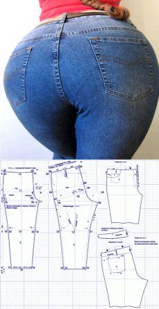 Выкройки для полных женщин. Шьем модные джинсы. | Как сшить модные узкие брюки для полных? Где взять выкройки? Ответы ниже :)