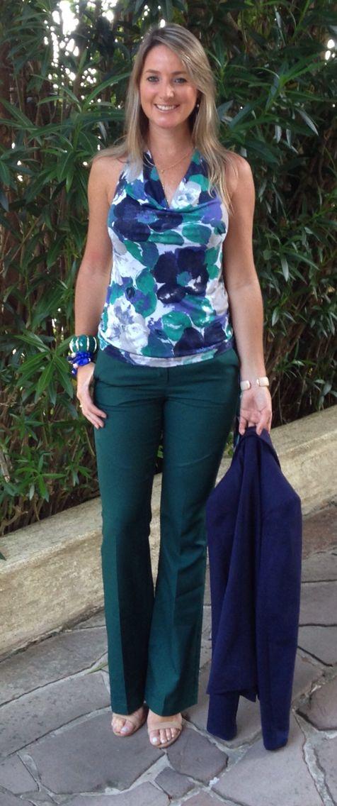 Look de trabalho - Look do dia - calça verde - blue and green - azul e verde