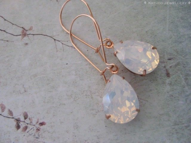 These Gorgeous Mia -Dainty Long Rose Gold White Opal Crystal Earrings - just perfect for bridesmaids.