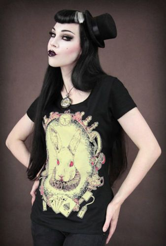 Alice T Shirt Kaninchen Hase Rockabilly Mad White Rabbit Zombie Gothic Steampunk | eBay