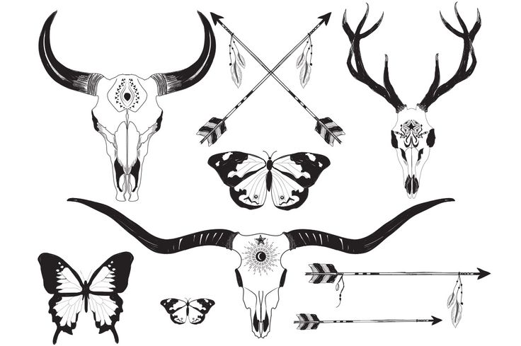 Wild Soul – Bohemian Sketches by Friendly Label on @creativemarket BOHO graphics, package, bohemian, boho, sketches, hand sketched, hand drawn, bull skull, deer skull, feathers, arrows, flowers, tribal drawings