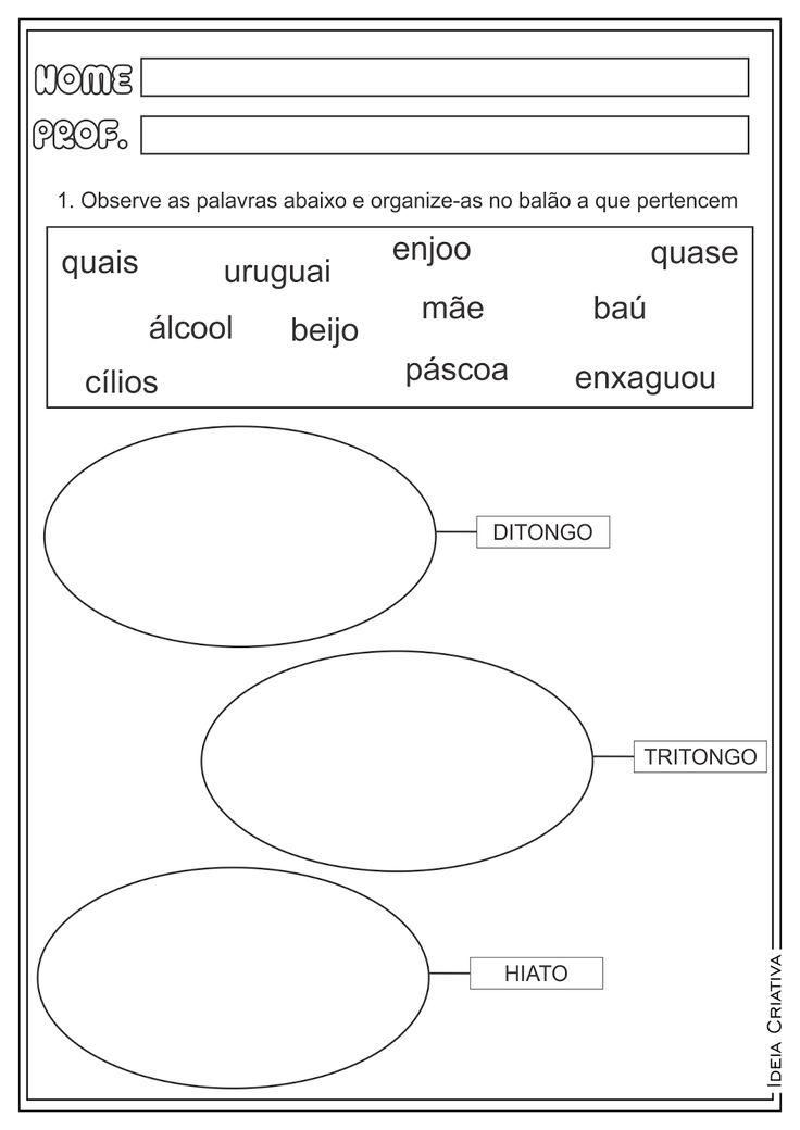 Atividades Ditongo Tritongo e Hiato Encontros Vocálicos Ensino Fundamental