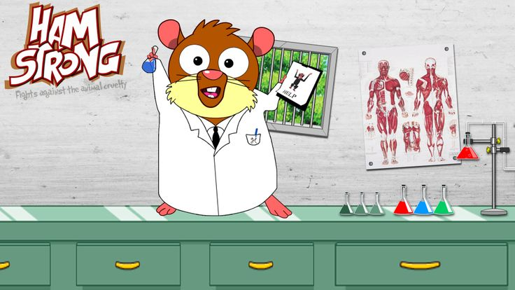 Hamstrong in the animal testing laboratory. #vivisection #cartoon
