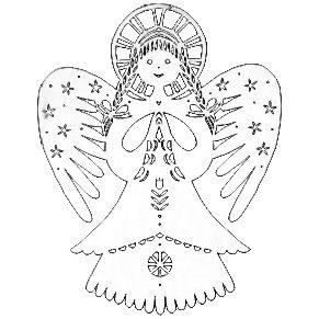 anděl z papíru - vystřihovánka
