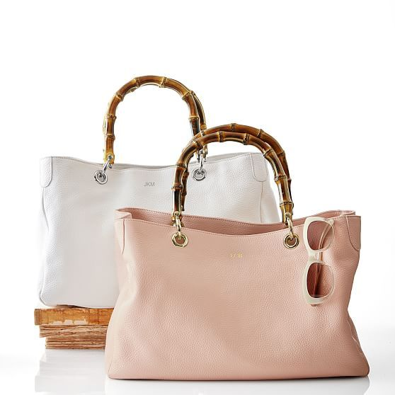 Spring Style Ideas. Spring Fashion and Spring Outfit Ideas. Blush pink leather tote bag with beautiful a bamboo handle.