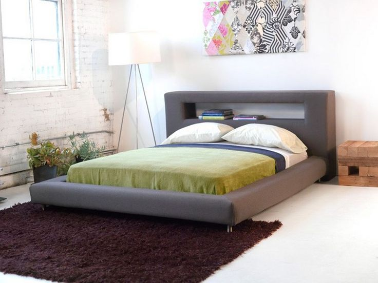 Bedroom: Modern Platform Bed With Leather Headboard And White Bed Also With Decorative  Bed Sheets