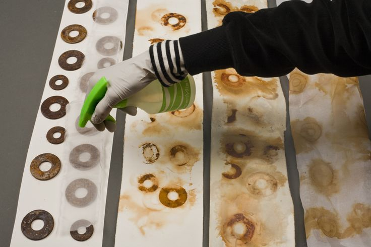 Daniella Woolf making rust prints, places items on Rives BFK paper, sprays with solution of 50% vinegar and water