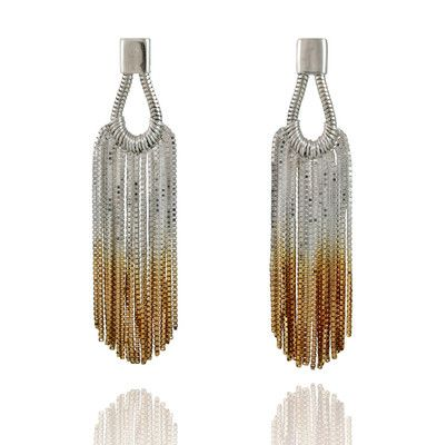 Sterling silver chain with graduated gold plated ends. These earrings bring iconic hollywood glamour from the 20's to present day with a bang.   Teardrop earrings with stud backing.