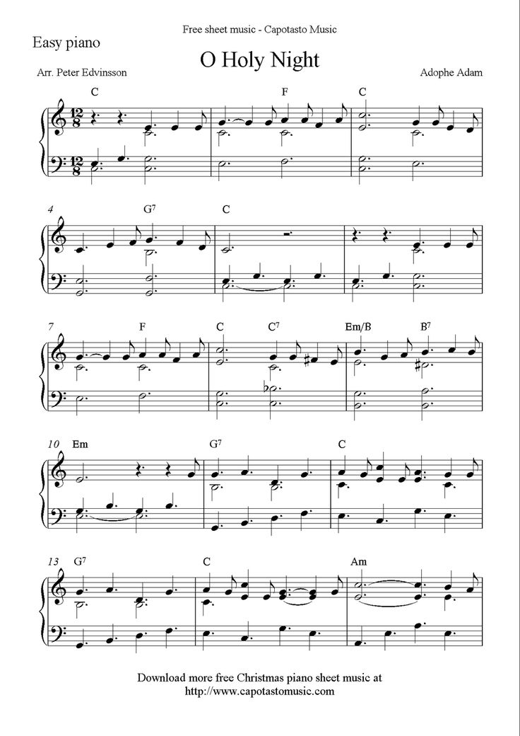 easy piano solo arrangement by peter edvinsson of the christmas carol o holy night free printable christmas sheet music notes for easy pian more