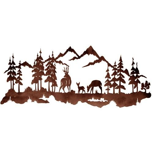 decorative deer sign | Deer Family 42 Metal Wall Art at Rocky Mountain Cabin Decor
