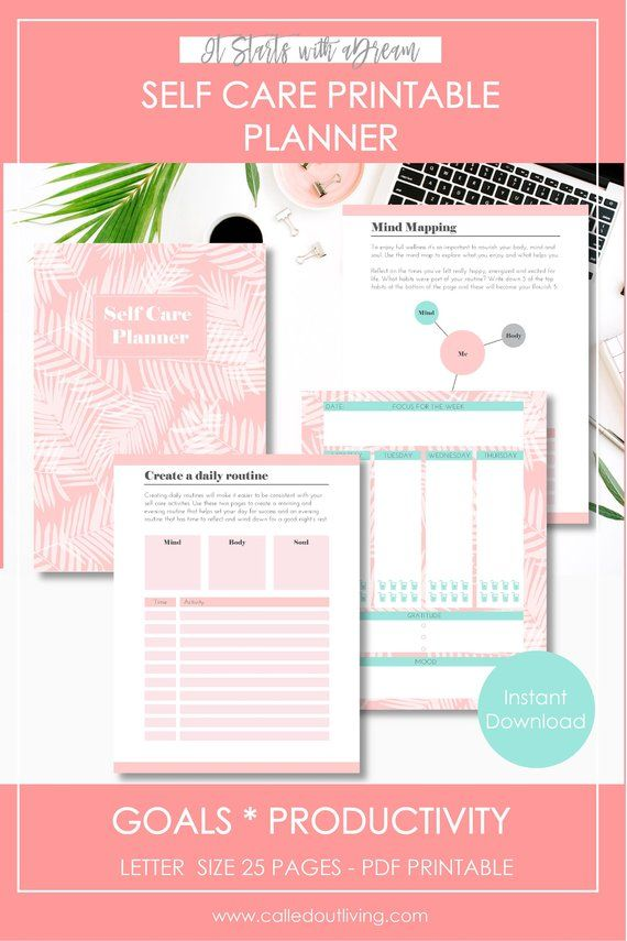 Self Care Planner Workbook, Wellness, Self-Care Planner, Self Help