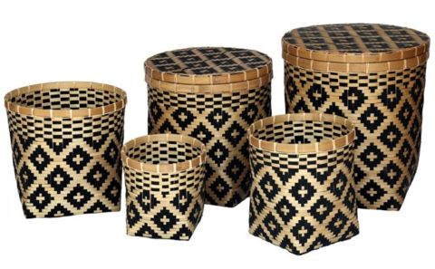 Black and Natural Set of 5 Baskets with Lids - Complete Pad ®