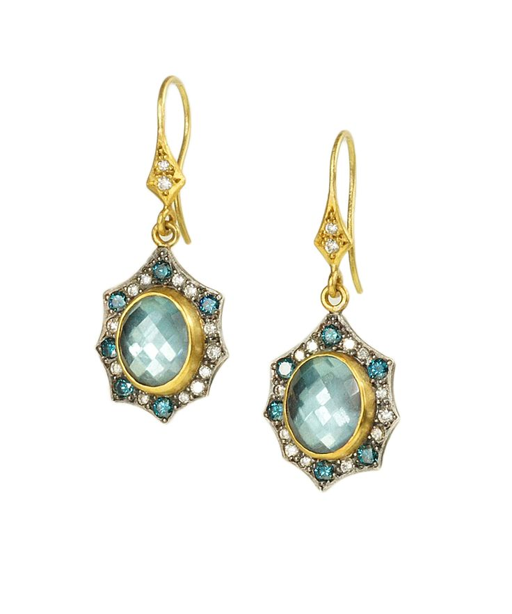 """Annie Fensterstock created these beautiful earrings especially for us! Faceted blue topaz is set in 22k and 18k gold, along with sterling silver. Alternating blue and white diamonds adorn the frame. The earrings are about 1 1/2"""" from the top of the wire."""