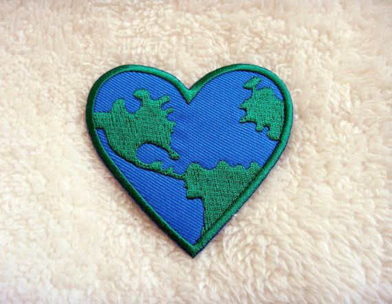 Love the Earth Heart Logo DIY Applique Iron on Patch by DIYMINT