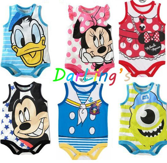 Retail baby romper costume newborn Mickey Minnie rompers boy girl children summer clothes boys jumpsuit baby climb clothes $5.77 - 6.27