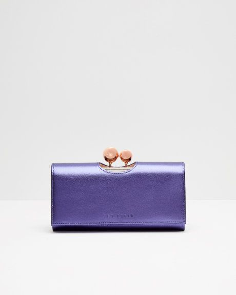 Leather crystal bobble matinee purse - Mid Blue | Purses | Ted Baker UK