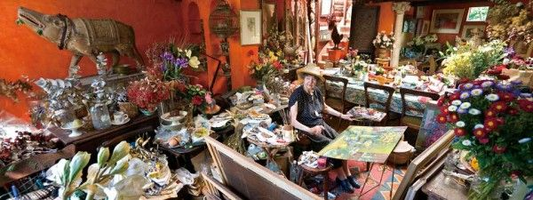 """Margaret Olley, 2009. """"I've never liked housework. I get by doing little chores when I feel like them, in between paintings. Who wants to chase dust all their life? You can spend your whole lifetime cleaning the house. I like watching the patina grow. If the house looks dirty, buy another bunch of flowers, is my advice."""" Margaret Olley, late and great Australian artist."""
