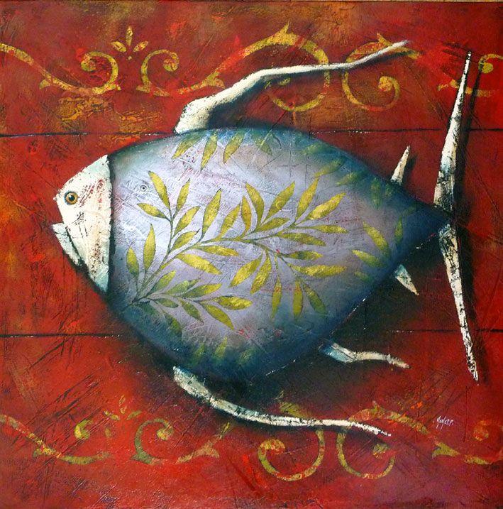 Pascal Merlet - Pez con hojas en fondo rojo