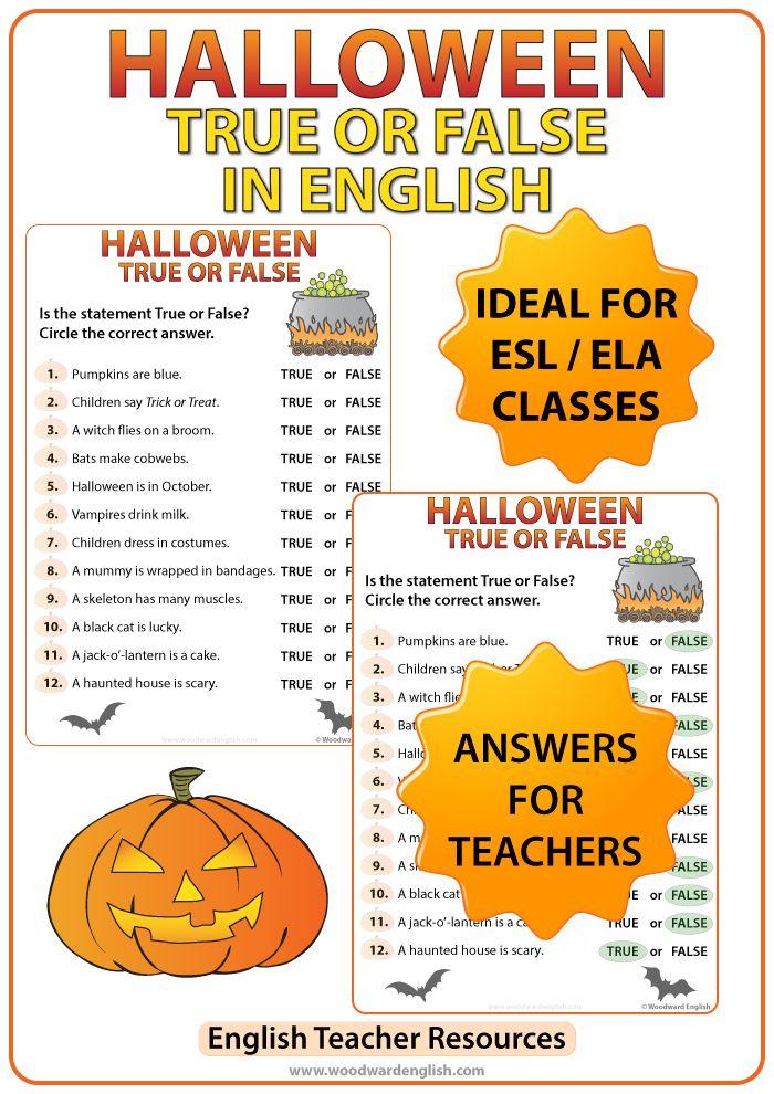 Halloween True or False Quiz Halloween worksheets