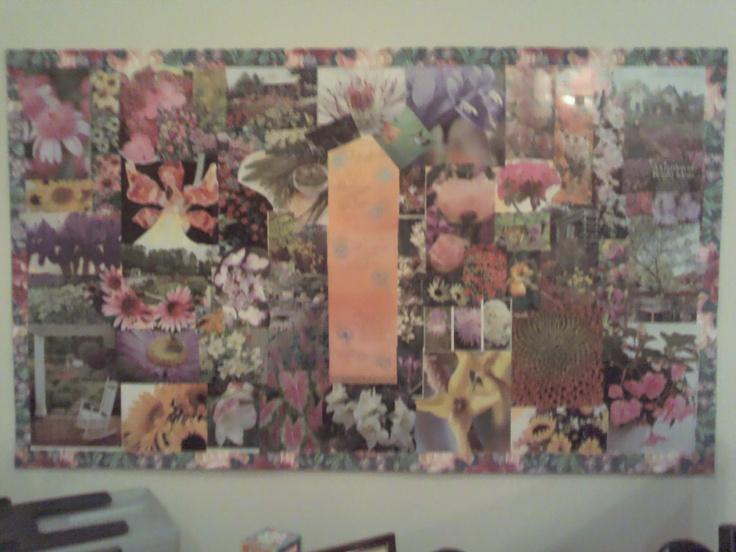 DIY bulletin board from cardboard box, ribbon, and magazine pics.: Diy Bulletin, Bulletin Boards