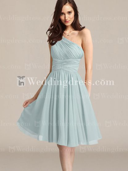 Knee Length Chiffon A-Line One-Shoulder Bridesmaid Gown BR275N