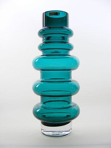 "12"" Riihimaki teal coloured cased glass vase, design by Tamara Aladin"