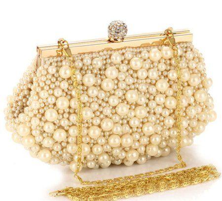 ERGEOB® Damen Clutch Abendtasche Handtasche Handmade Clutch Kleine Perlen Diamant Ring Schnalle Brauttasche Hochzeittasche: Amazon.de: Schuhe & Handtaschen