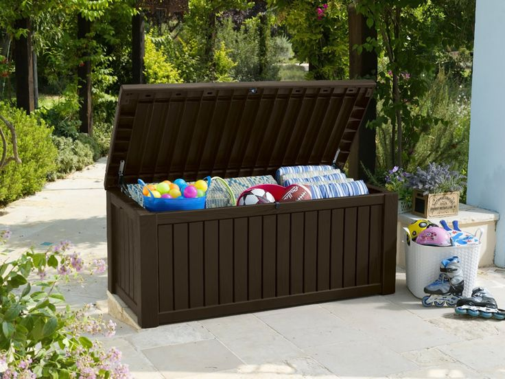 Part of our extensive range, the Keter Rockwood Storage Box - Dark Brown Wood Effect is available for FREE delivery on Garden4Less orders over £25!