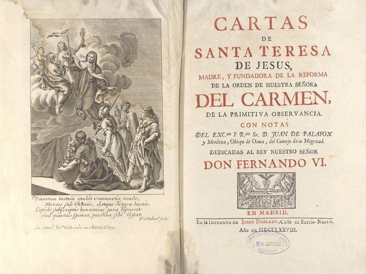 Ejemplar del libro de 1778 con las cartas de Santa Teresa de Jesús dedicado al Rey Fernando VI que se encuentra entre los fondos de la Biblioteca Histórica de Santa Cruz de la Universidad de Valladolid.