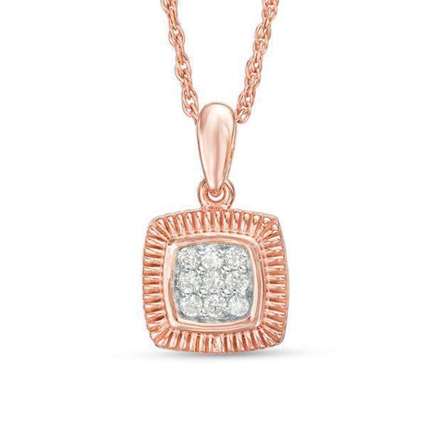 1 15 Ct T W Composite Diamond Square Pendant In 10k Rose Gold Pendants Rose Gold Necklace Designs