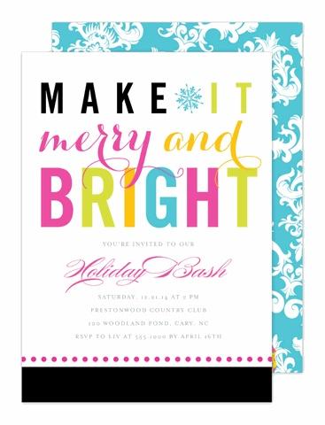 Merry and Bright Holiday Invitation by Modern Posh at InvitationBox.com