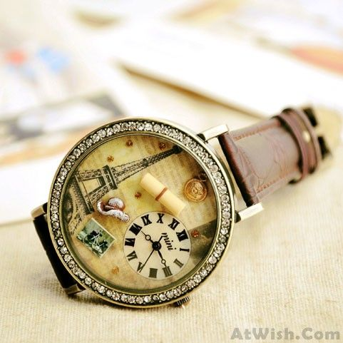 Wow~ Awesome romantic Paris Tower cartoon rhinestone retro watch! It only $40.9 at www.AtWish.com! I like it so much<3<3!