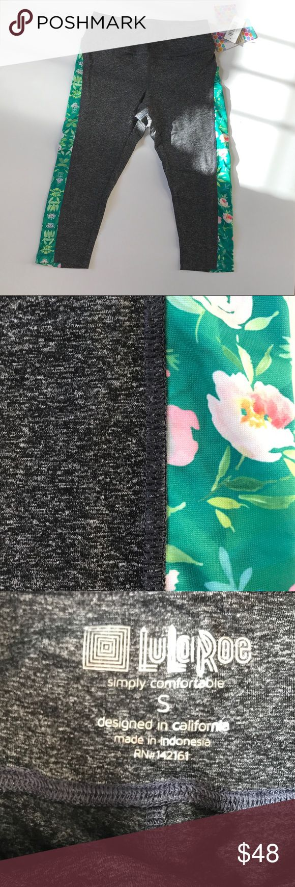 NWT Small LuLaRoe Jade Workout Leggings NWT LuLaRoe Jade Leggings in a dark heathered gray with floral accent on the outside of leg. The Jades are the ankle length workout leggings. These are perfect for workout out & features moisture wicking technology. Smoke free home and all items are incredibly well taken care of. LuLaRoe Pants Leggings