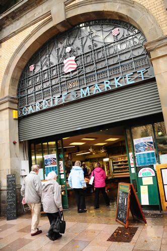 Cardiff Market ~ Actually I haven't been here, but my grandmother was born here, in 1900; and from the looks of the date above this market -1891, probably came here with her mother.  :)