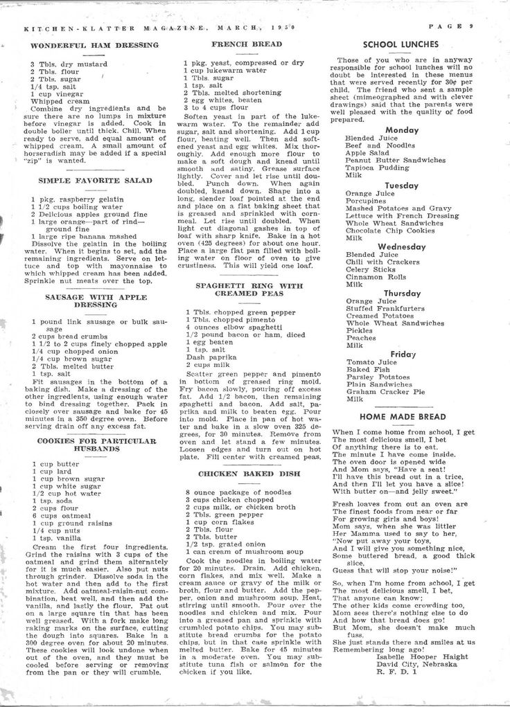 Kitchen Klatter Magazine, March 1950 - Wonderful Ham Dressing, Simple Favorite Salad, Sausage with Apple Dressing, Cookies for Particular Husbands, French Bread, Spaghetti Ring with Creamed Peas, Chicken Baked Dish, Home Made Bread, School Lunch Box