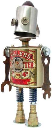 "Fobot ""Mr. Fats"" (created 2009).  Principal Components: Candy tin, cream pitcher, tail light lens, wrenches, pocket watch movement, valve springs"