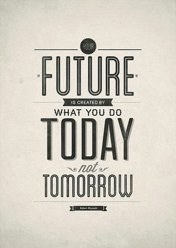 Future is created by what you do today, not tomorrow. #Quote