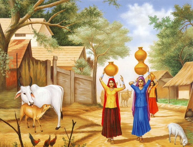 Rajasthani Girls Going to Fetch Water (Reprint on Paper - Unframed))