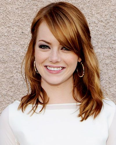 Hair like Emma Stone is a perfect shade for the upcoming Fall season! Ask your Spasation stylist for a copper auburn base with strawberry highlights.