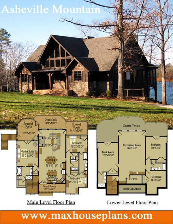 Rustic lake house plan with an open living floor plan featuring vaulted ceilings and large windows creating great views #house #plans