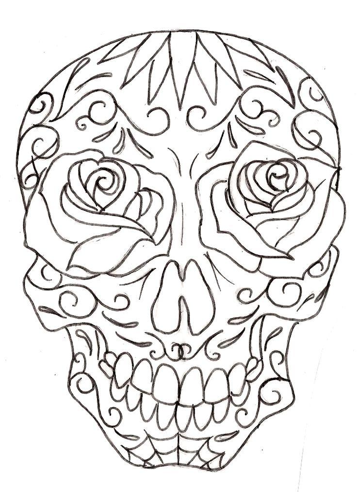 Sugar Skull Line Drawing 10 | Sugar Skull Tattoos