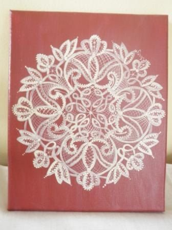 Scandinavian Hand Painted Lace on canvas by OlsenTrademarkCrafts, $25.00
